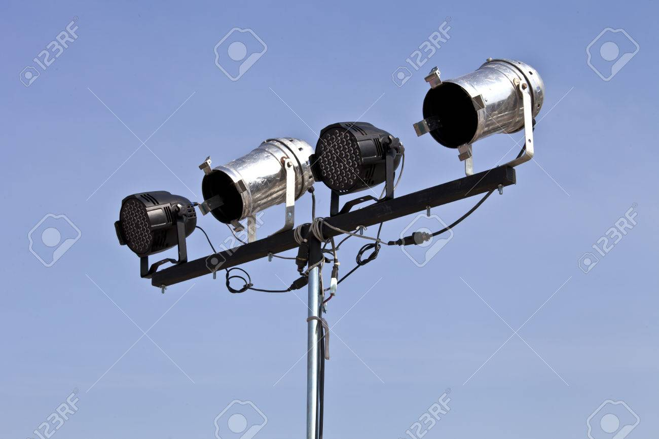 Black and white spotlights on moblie stand for outdoor stage stock black and white spotlights on moblie stand for outdoor stage lighting stock photo 25838081 aloadofball Images