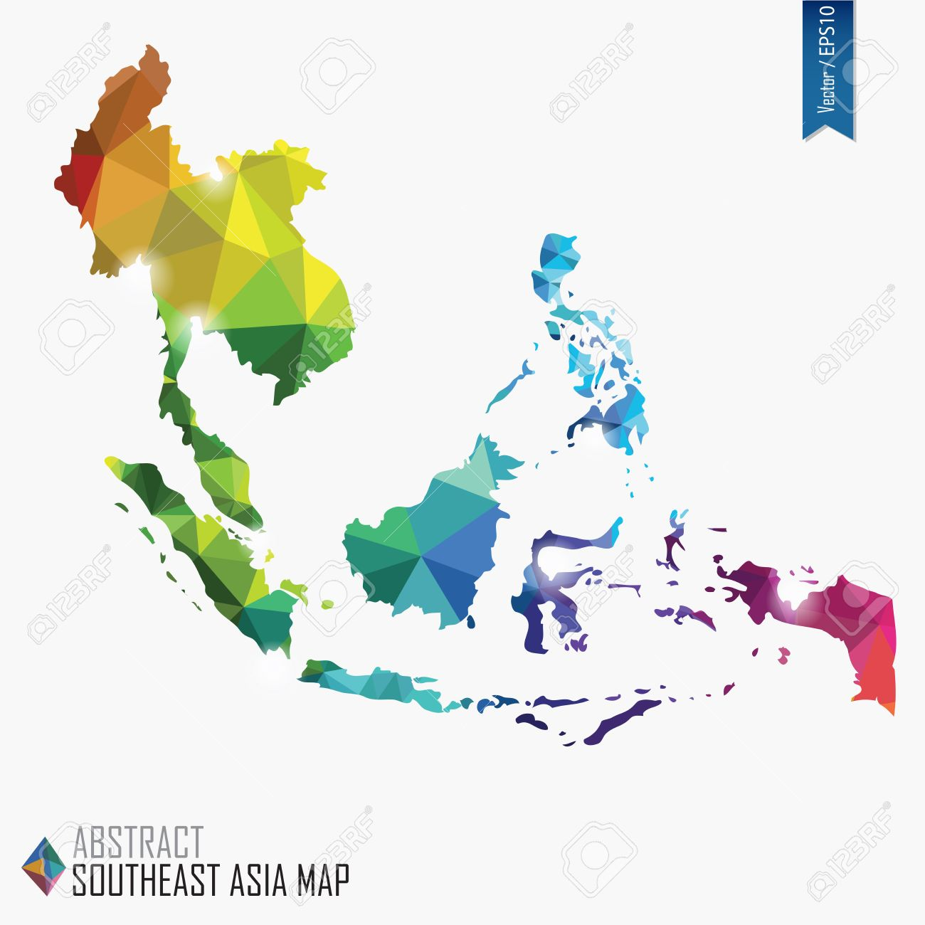 colorful abstract southeast asia map vector illustration mesh triangles delaunay stock vector