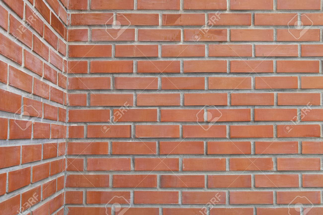 Outdoor Red Brick Wall Corner Background A Horizontal Photo