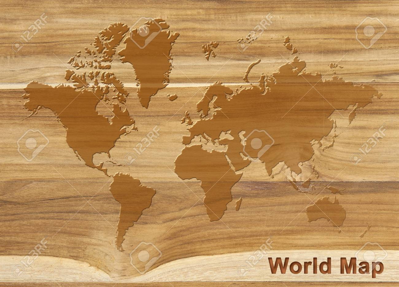 world map on texture of teak wood background, wood plank