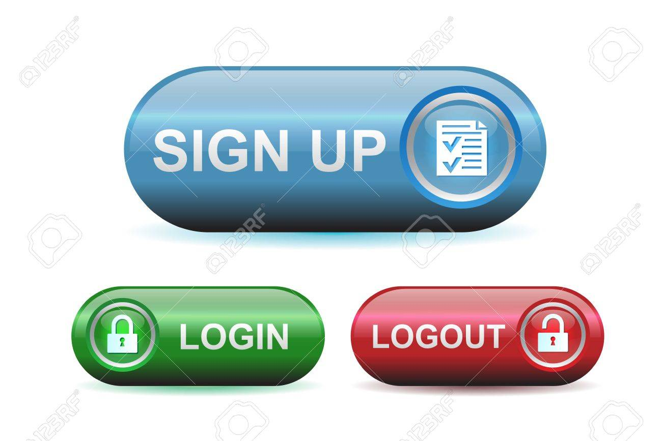 Login, Logout And Signup Buttons With Glossy Effect Royalty Free ...