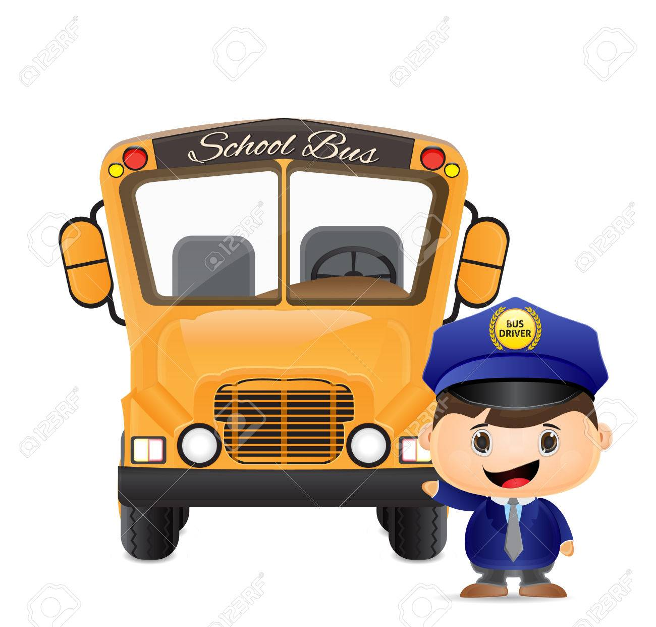 School Bus And Bus Driver Illustration Royalty Free Cliparts ...