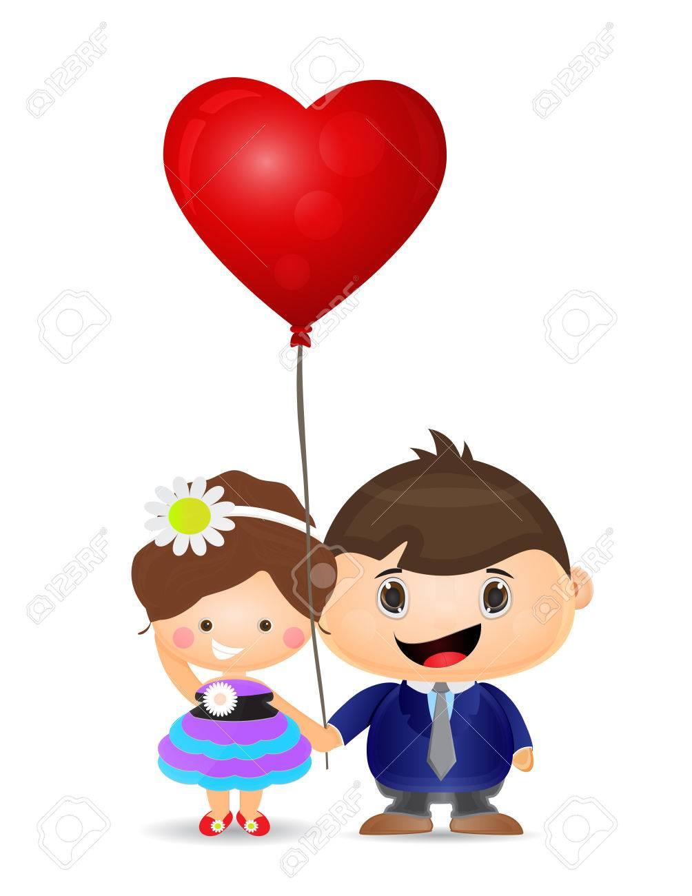 イラスト カップル少年と少女愛バルーンを保持のイラスト素材ベクタ