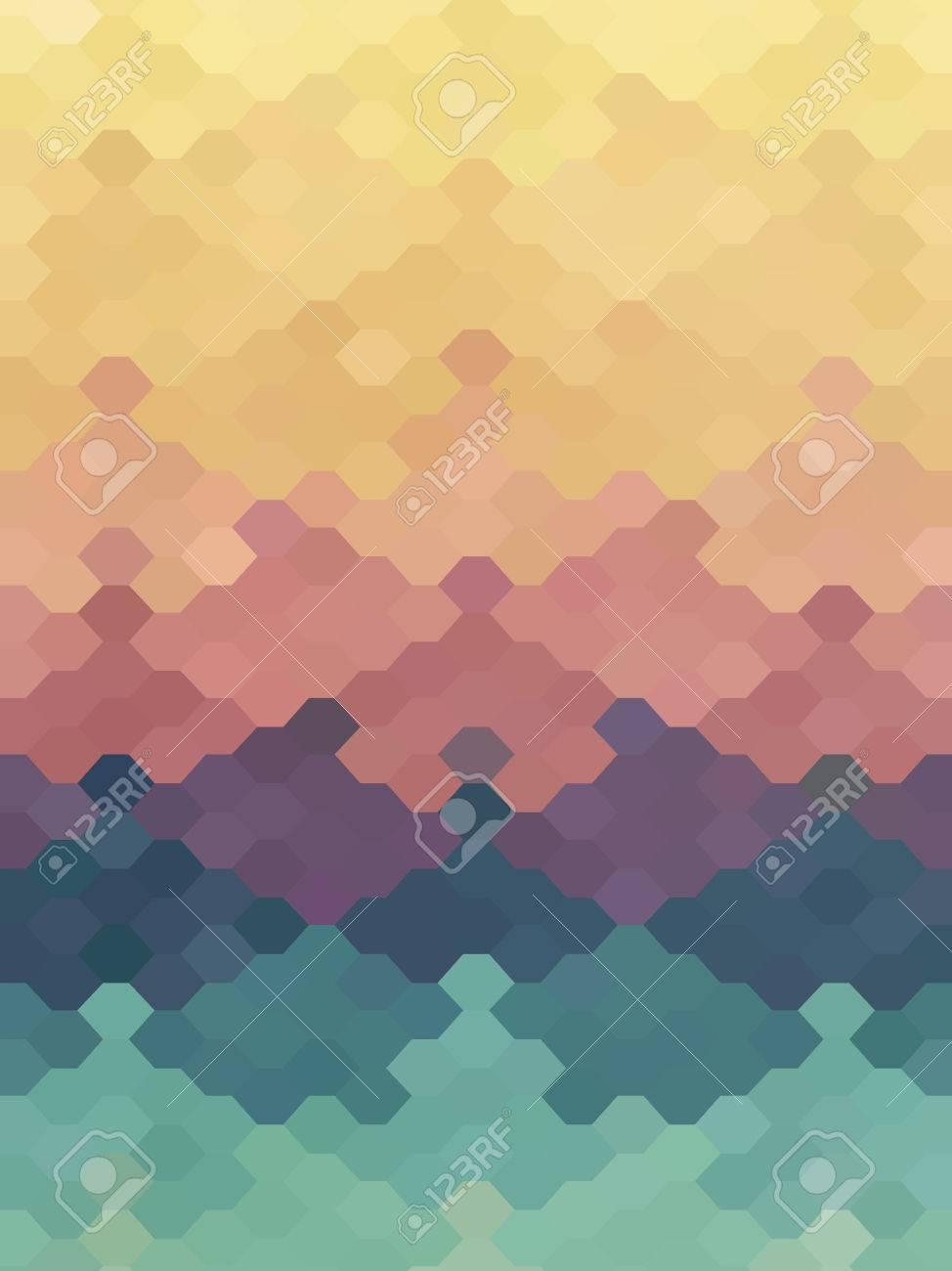 Abstract Jigsaw Puzzle Hexagon Pastel Color Wallpaper Stock Vector