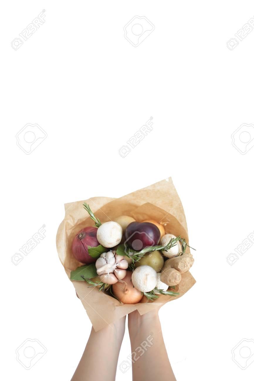 Bouquet Farben Hand Früchte Vegatables Hintergrund Lizenzfreie Fotos ...