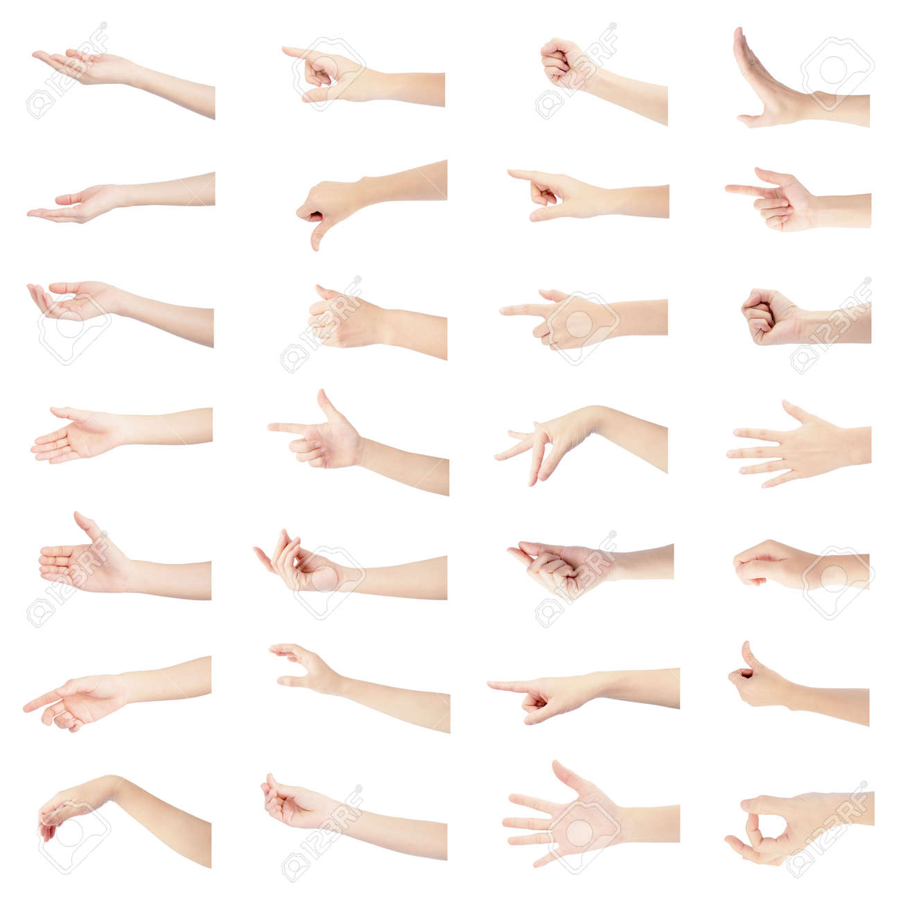 multiple collection right hand of woman in gestures and white skin isolated on white background - 159658791