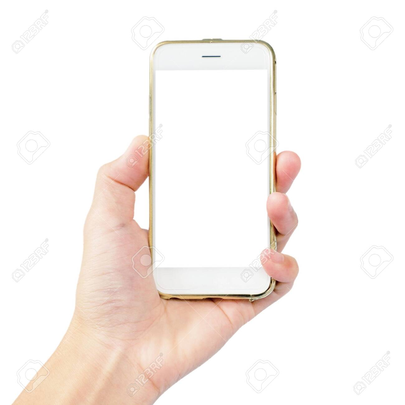 left hand is hold smartphone with gold case isolated on white background - 150882400