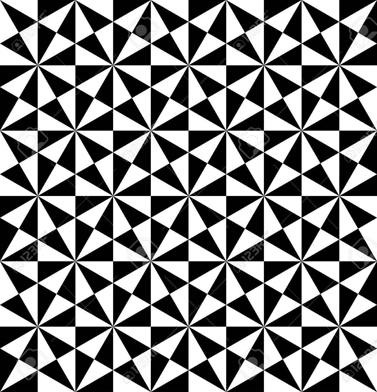 Disegni Geometrici Bianco E Nero in bianco e nero disegno geometrico senza soluzione di continuità con il  triangolo, sfondo astratto, vettore, illustrazione.