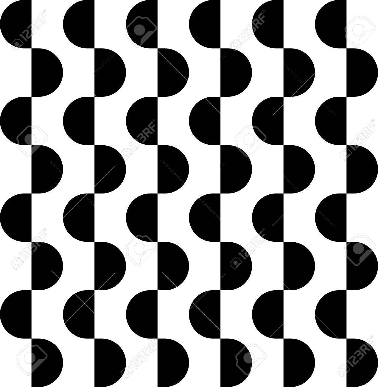 Disegni Geometrici Bianco E Nero in bianco e nero disegno geometrico senza soluzione di continuità con il  semicerchio, sfondo astratto, vettore, illustrazione.