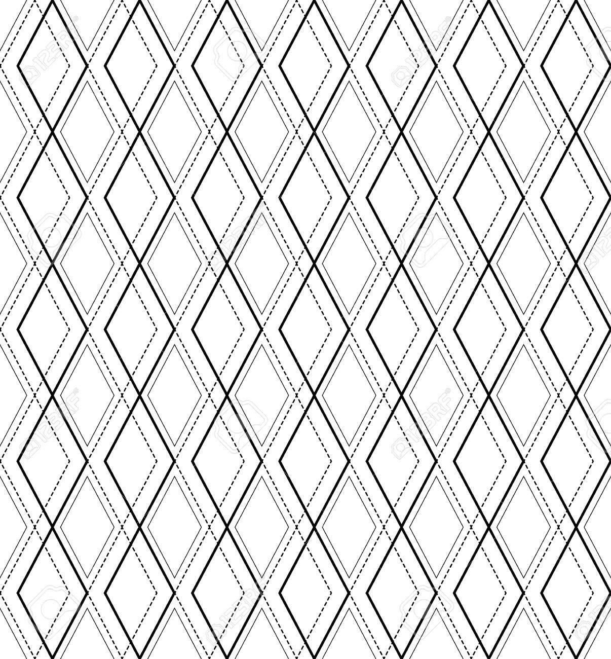 Blanco Y Negro Patrón Geométrico Sin Costura Con Línea Y Diamante ...