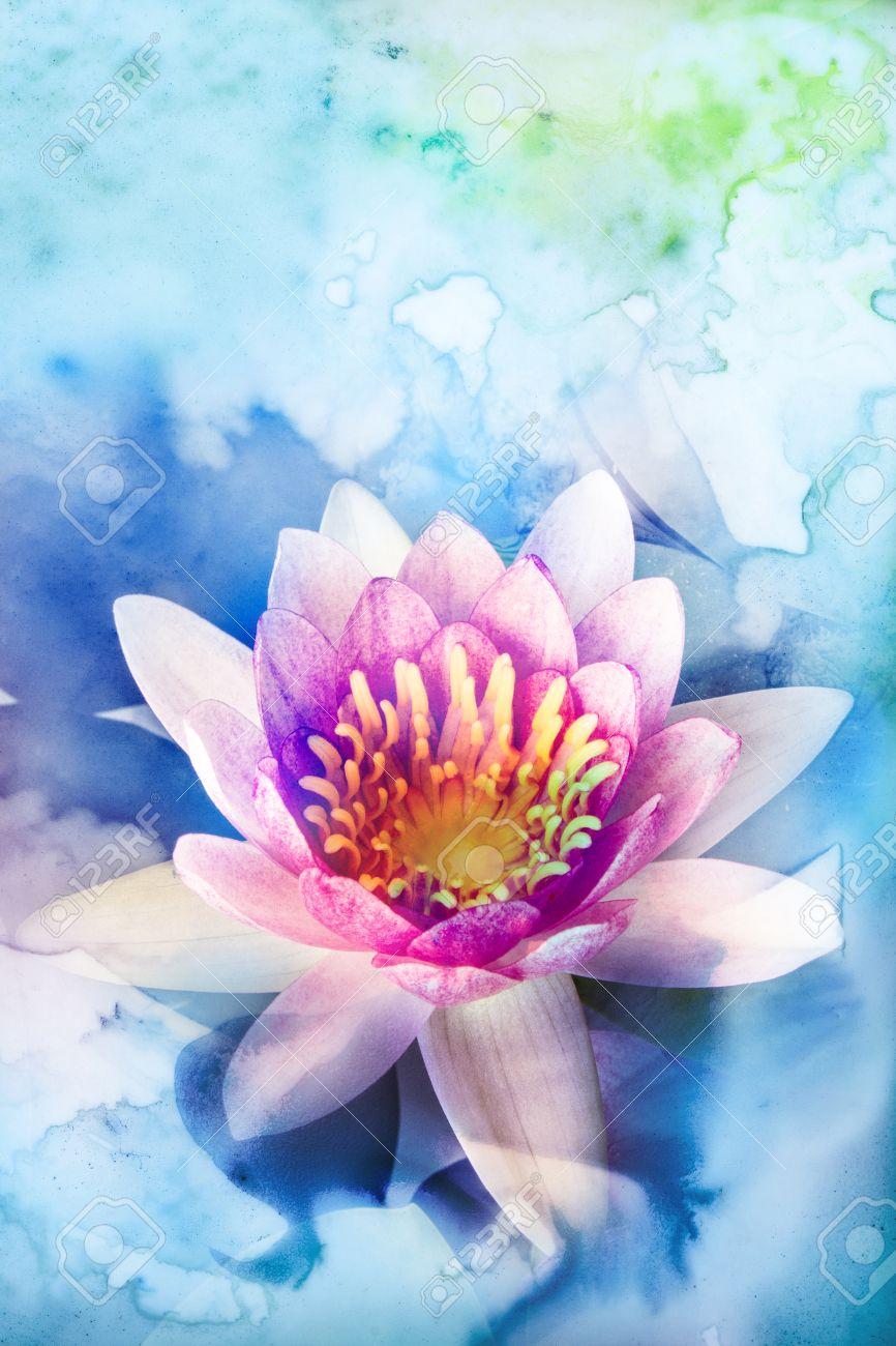 Ejemplo De La Acuarela Abstracta De La Flor De Loto Pintura De