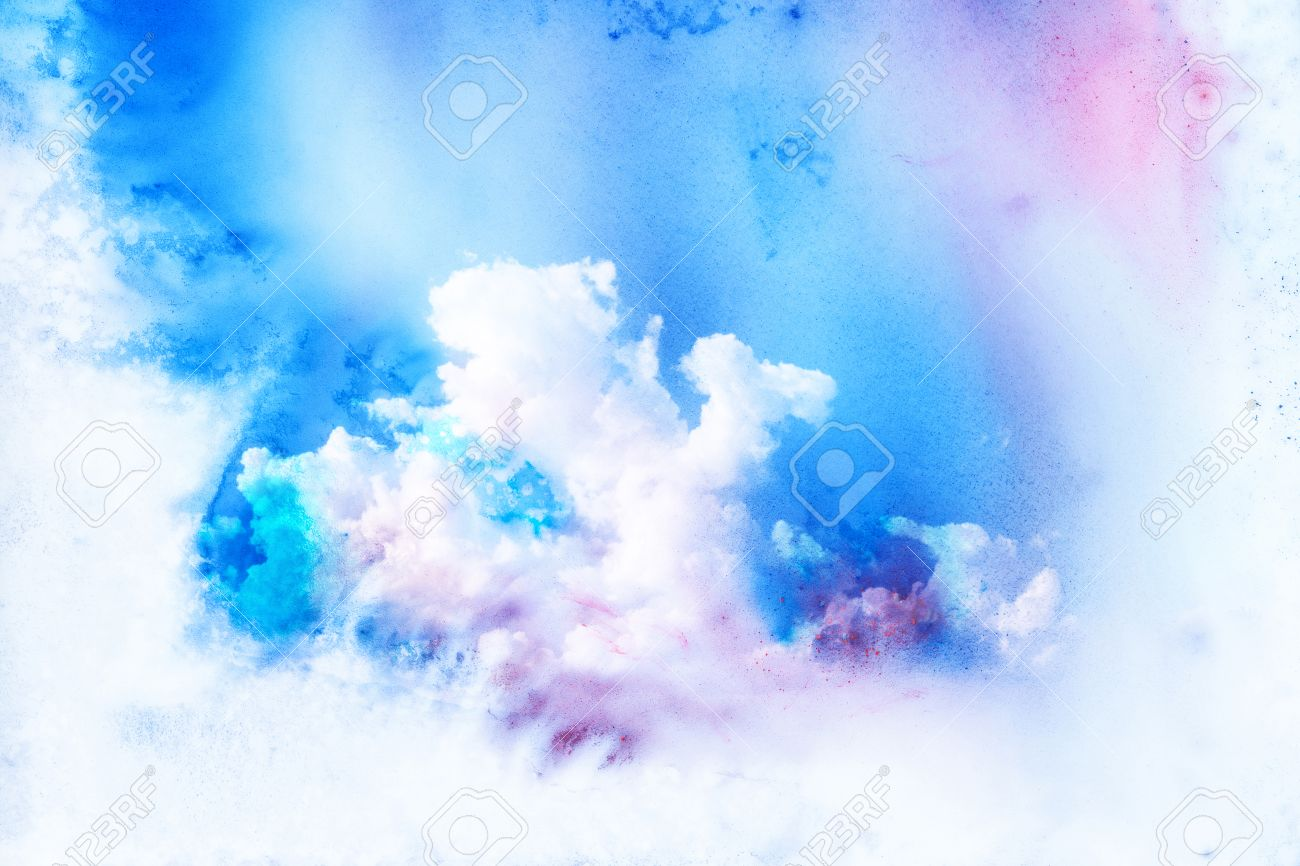 Abstract watercolor illustration of cloud. Watercolor painting on paper. Watercolor illustration of sky. Abstract background. - 53301135