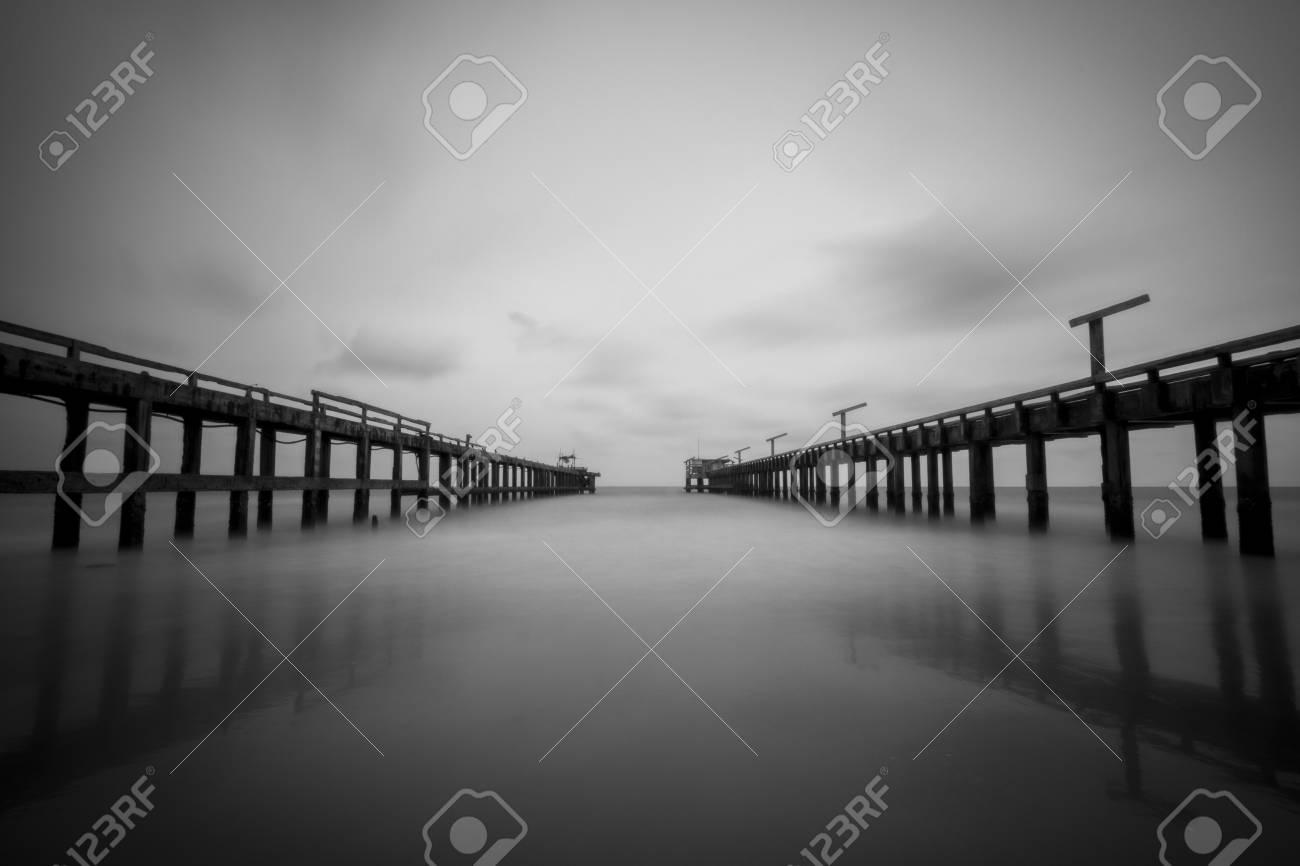 Black and white seascape photo
