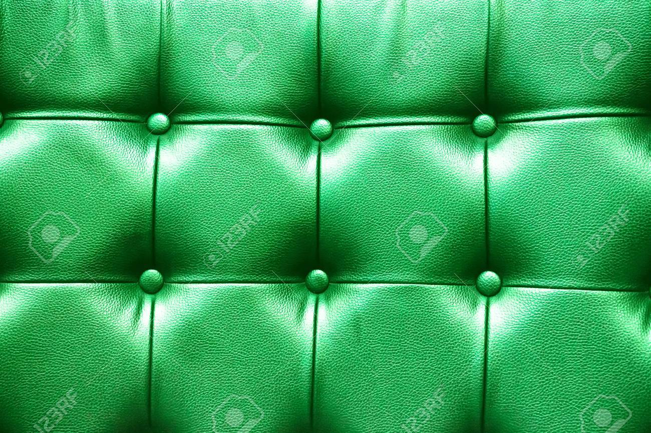 Closeup Texture Of Vintage Green Leather Sofa For Background. Stock ...