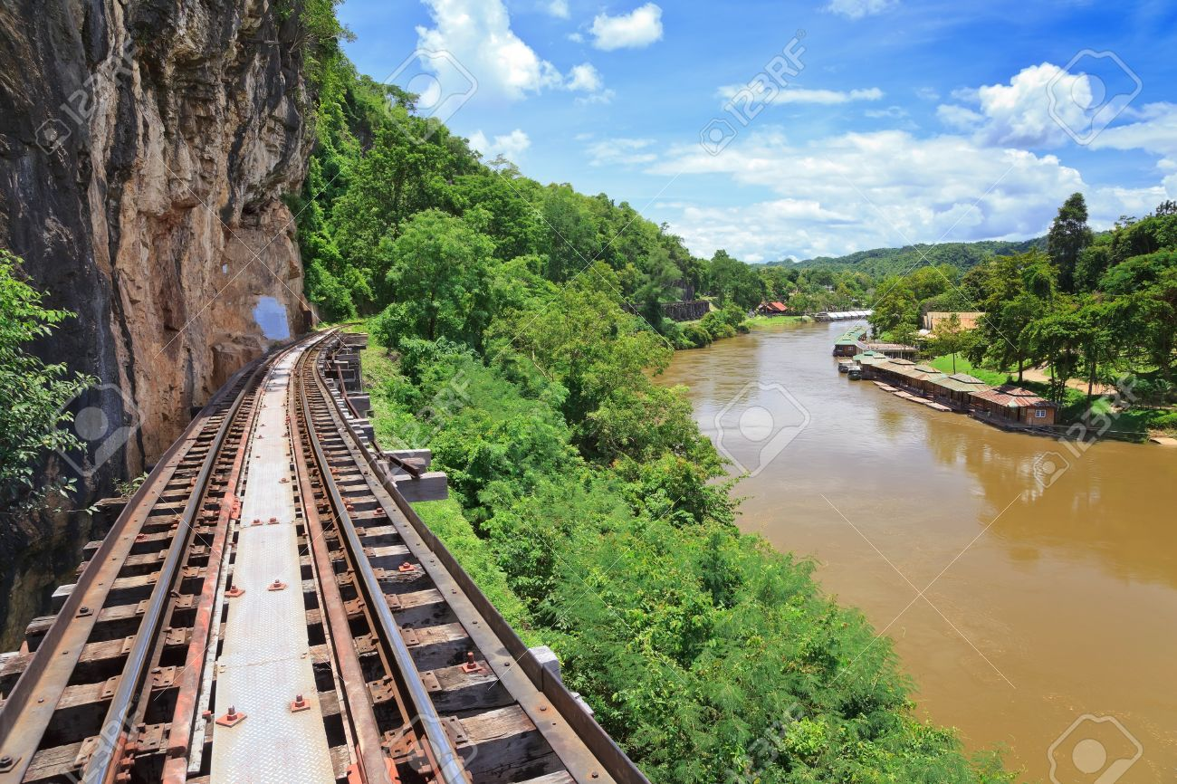 beautiful of railwat track of Thai Railway and river resort at Kanchanaburi - 22105106