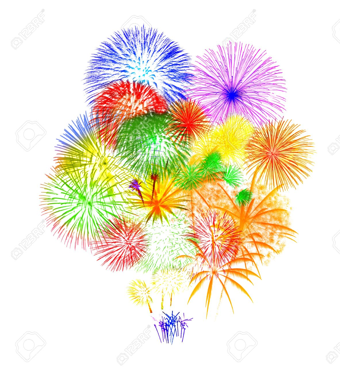 Fireworks On White Background Stock Photo