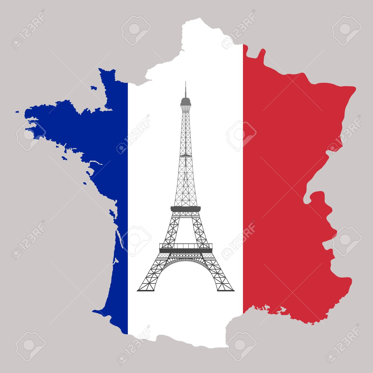 Map Of France Eiffel Tower.Map Of France With Flag Colour And Eiffel Tower