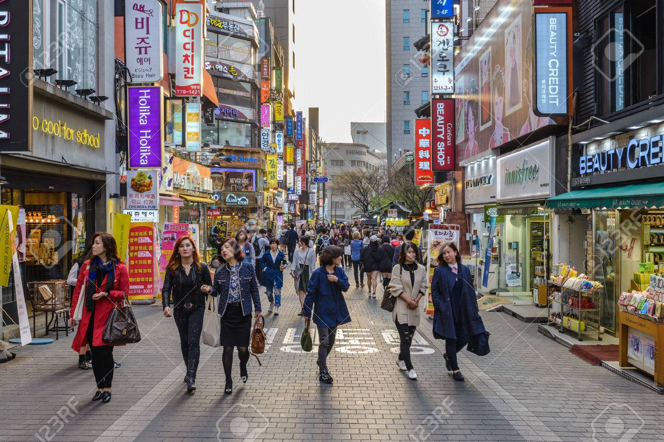 MYEONG-DONG, SEOUL, KOREA: APRIL 1,2016: People Shopping And ...