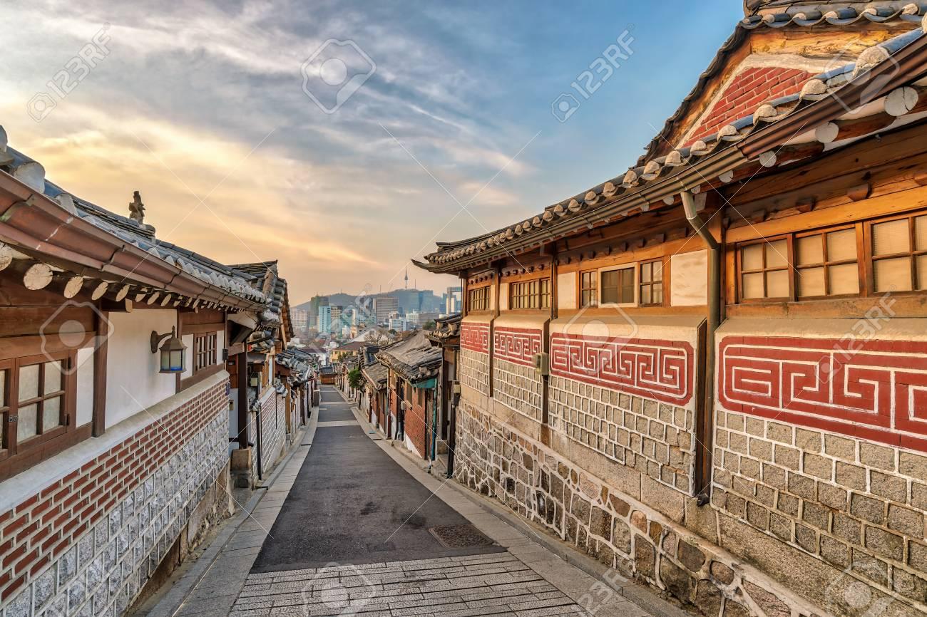 Seoul Sunrise City Skyline At Bukchon Hanok Village, Seoul, South ...