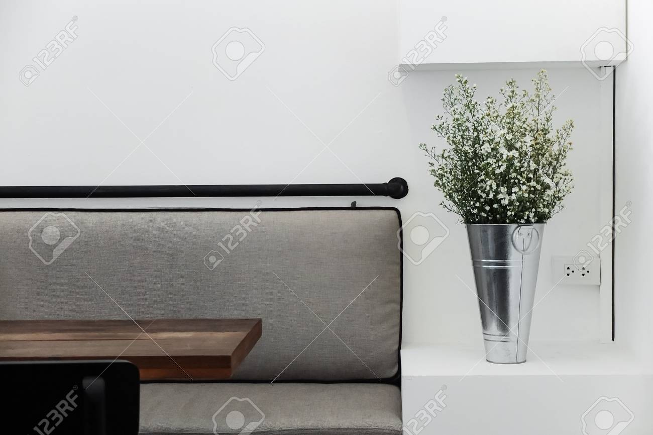 Seating In Empty Cafe With Minimal Style Decorations Stock Photo