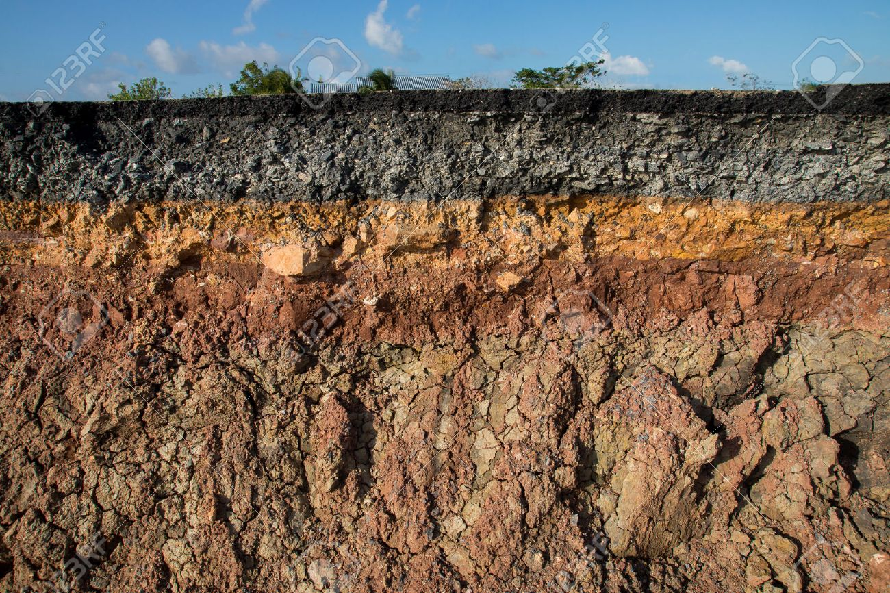 The curb erosion from storms. To indicate the layers of soil and rock. - 35517408