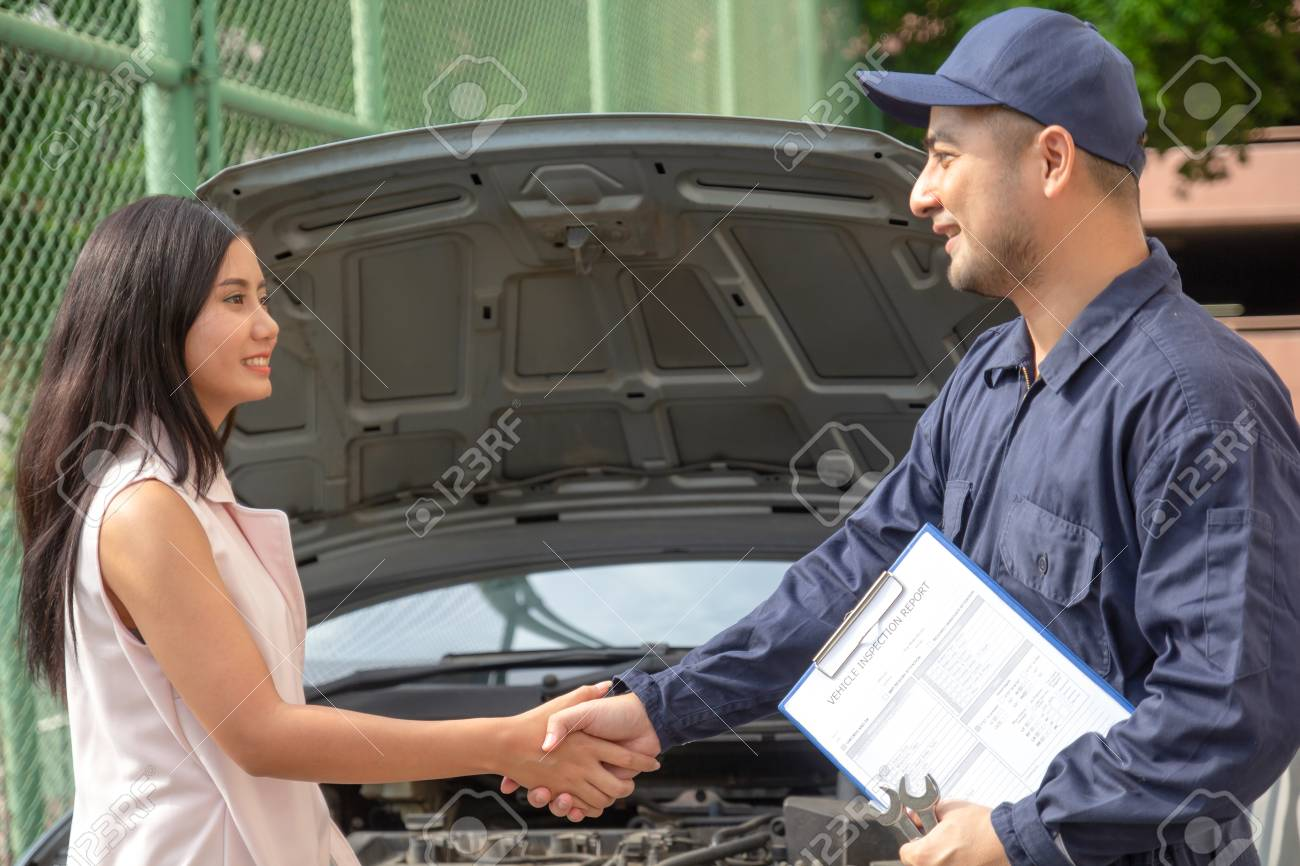 Car Repair Insurance >> Young Auto Service Shaking Hands With Female Customer Finish