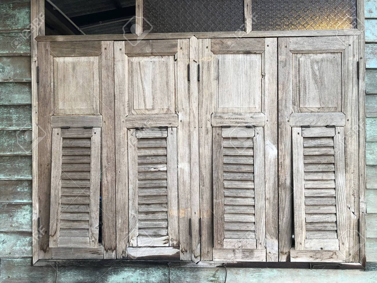 Old Barn Wall With Wooden Window Thai Vintage Style Wooden