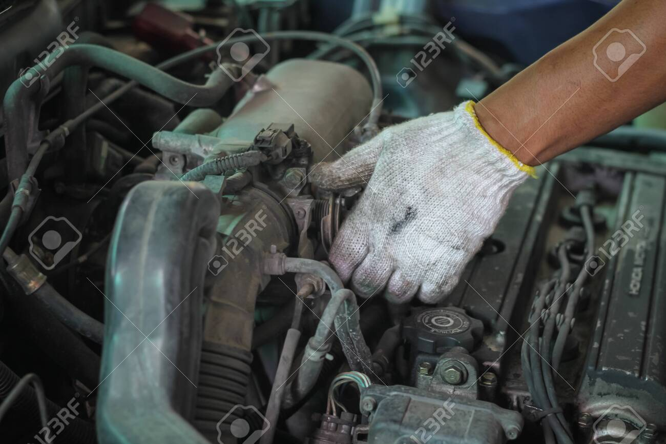 Mechanical Fixing Car At Home Repairing Service Mechanic Technician Stock Photo Picture And Royalty Free Image Image 131978457