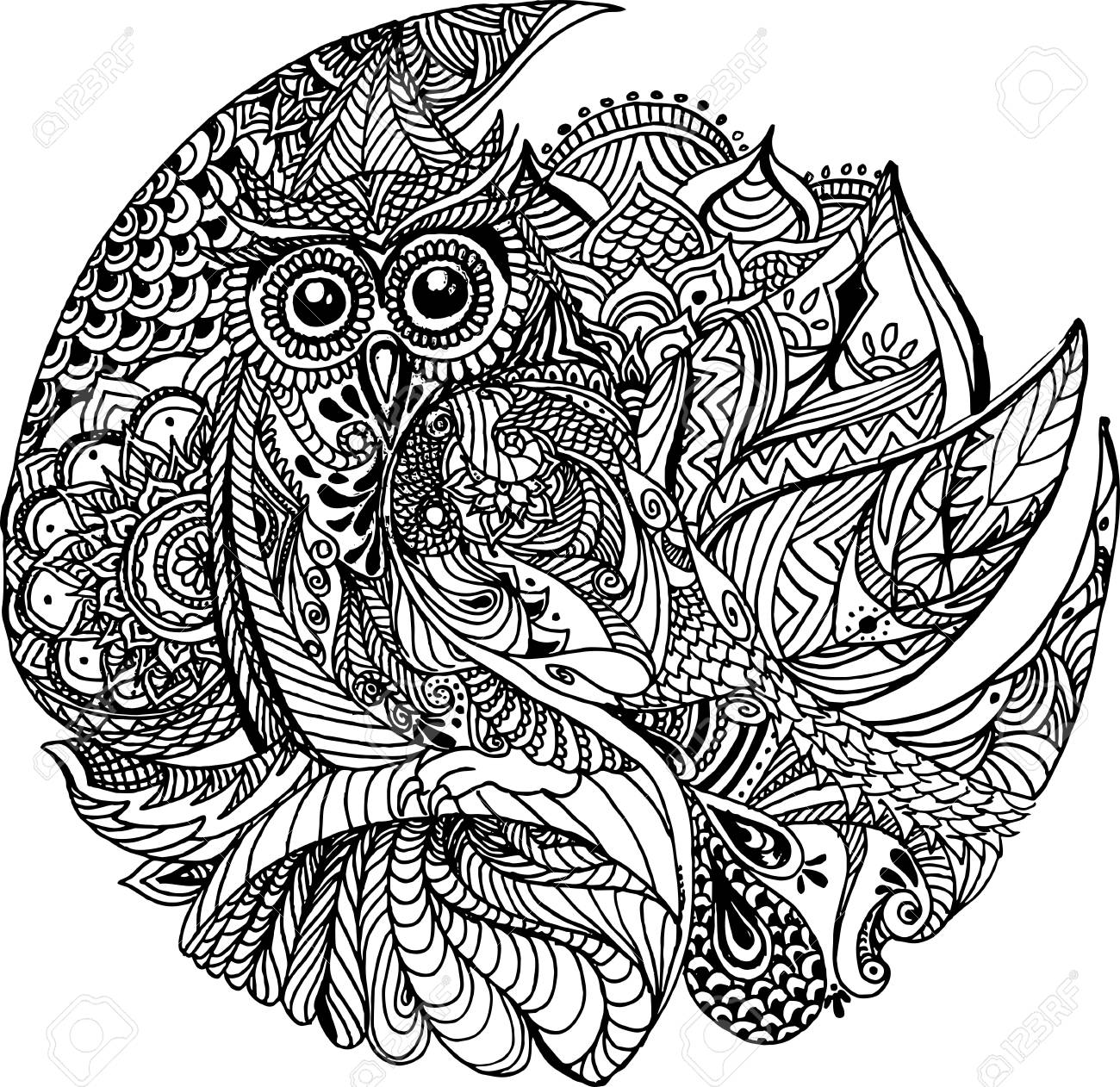 Floral Owl Design. Owl Tattoo. Coloring Book Page. Royalty Free ...