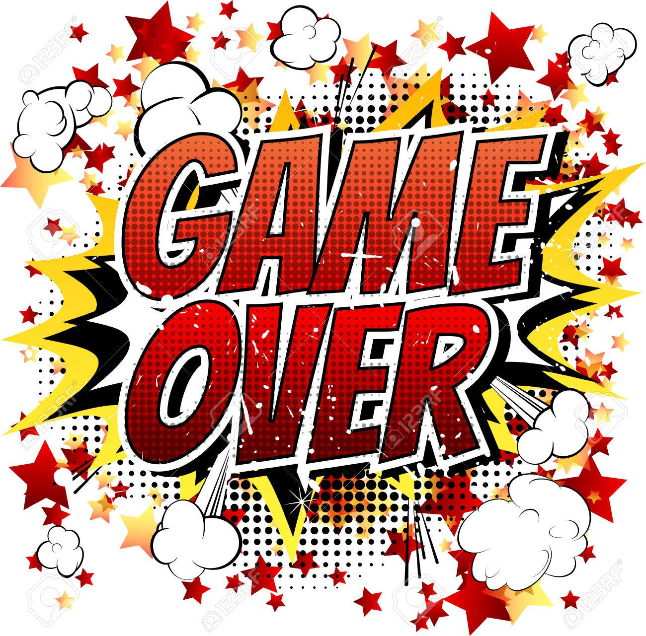 game over comic book cartoon expression isolated on white