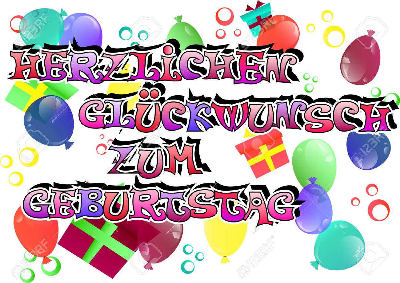 Vector German Happy Birthday Card With Balloons And Gift Boxes