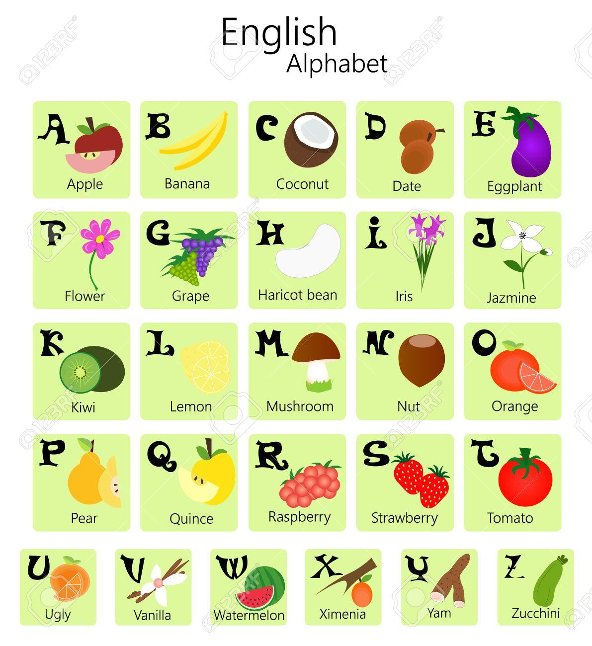 Ilustración Del Alfabeto Inglés De La A A La Z Con Frutas Y Verduras