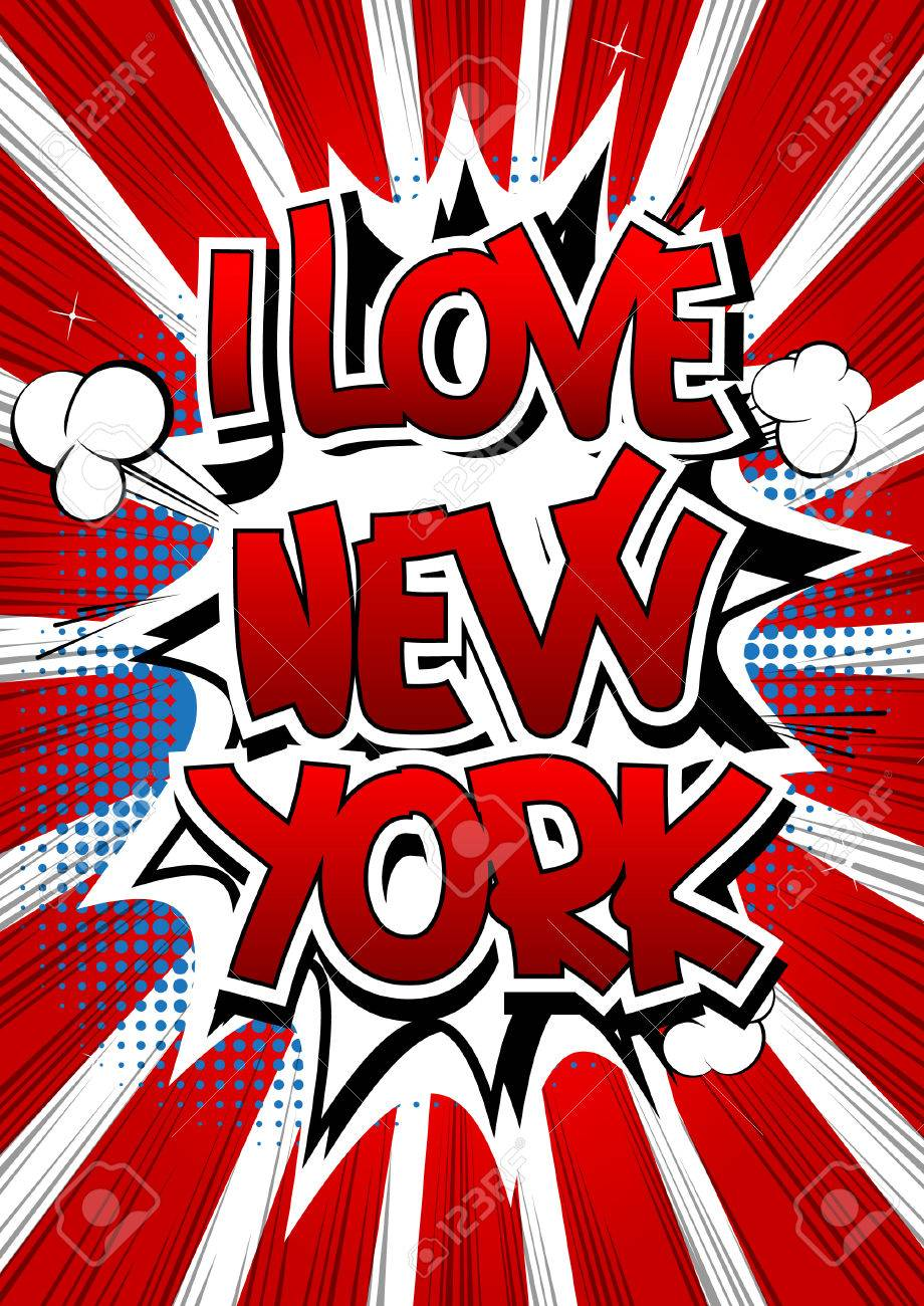 I Love New York Comic Book Style Word On Comic Book Abstract Background Stock