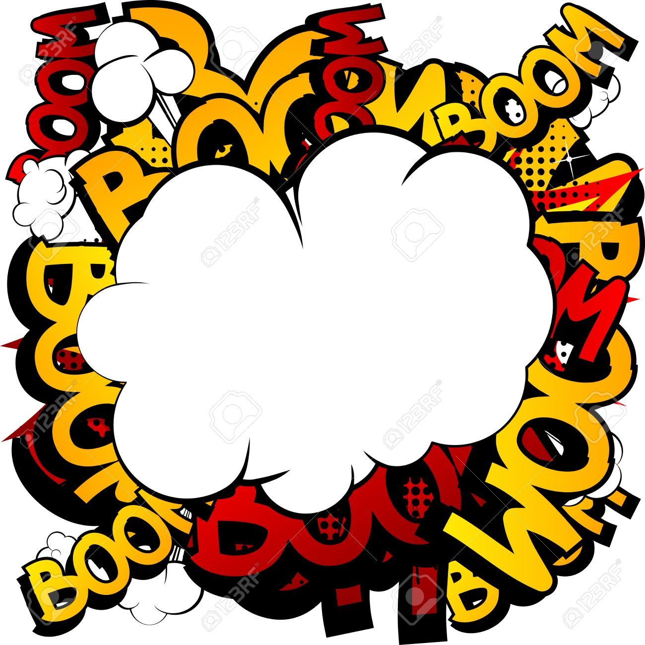 Comic Book Cartoon Explosion With A Blank Cloud Stock Vector
