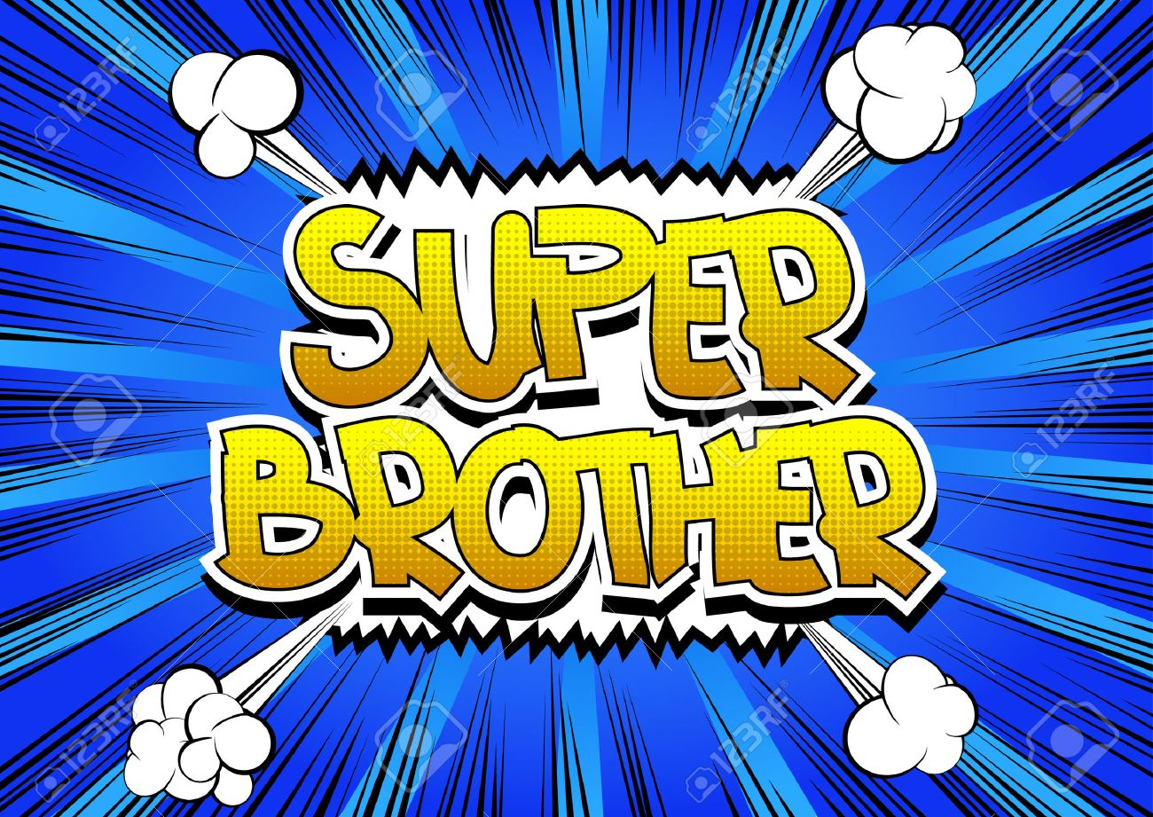 Super Brother - Comic book style word on comic book abstract background. - 53079710