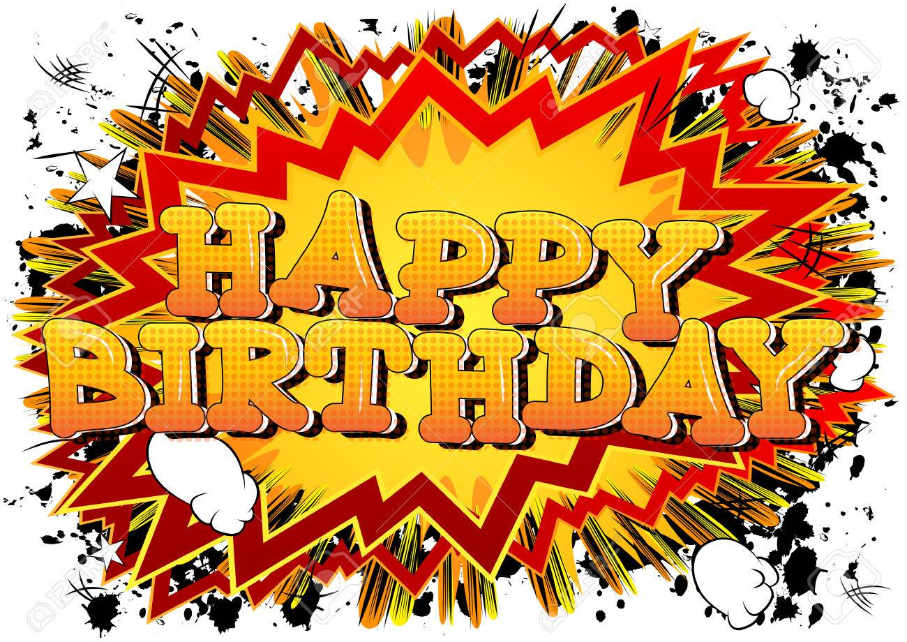 Happy Birthday Comic Book Style Card Isolated On White Background