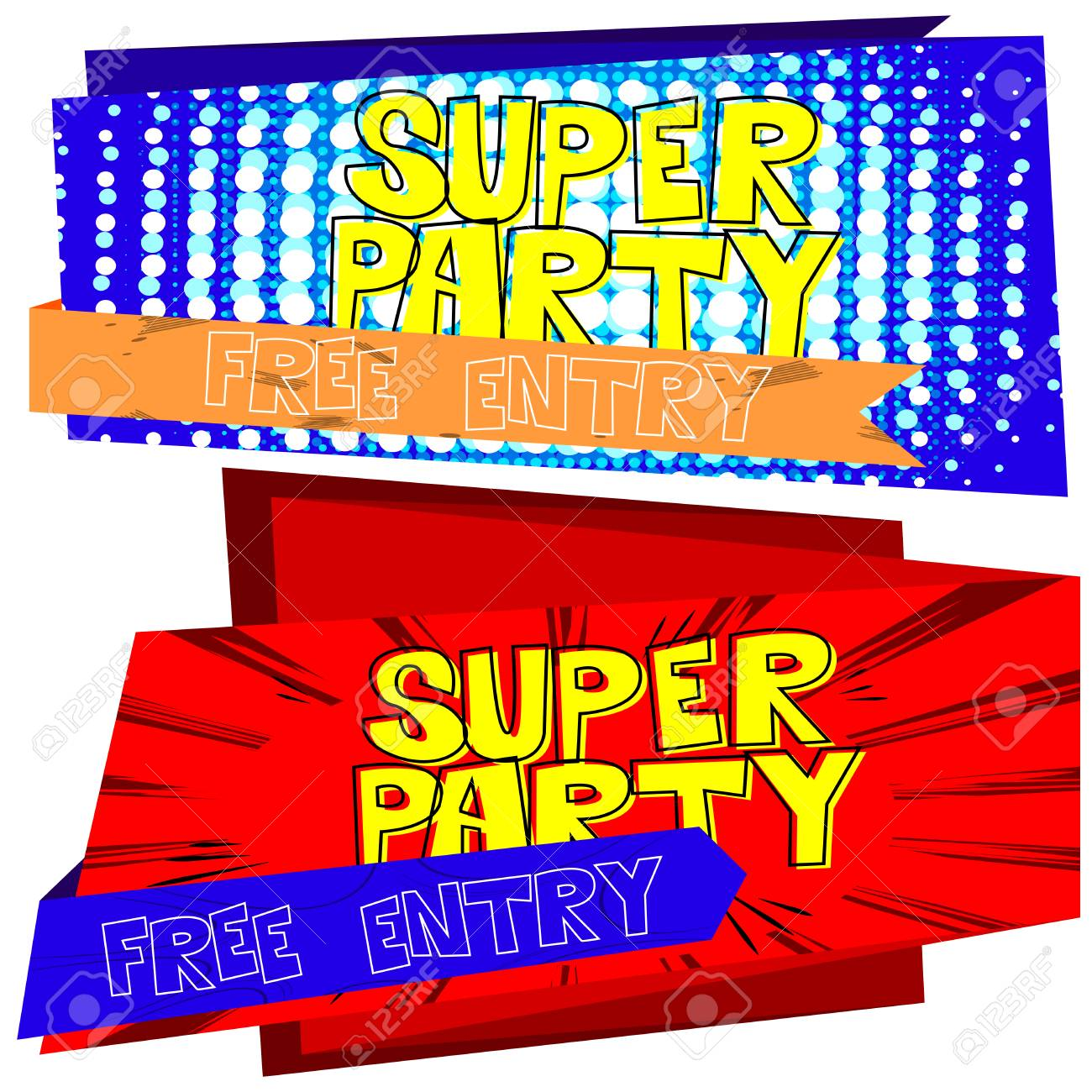 vector party flyer poster template on comic book theme ロイヤリティ