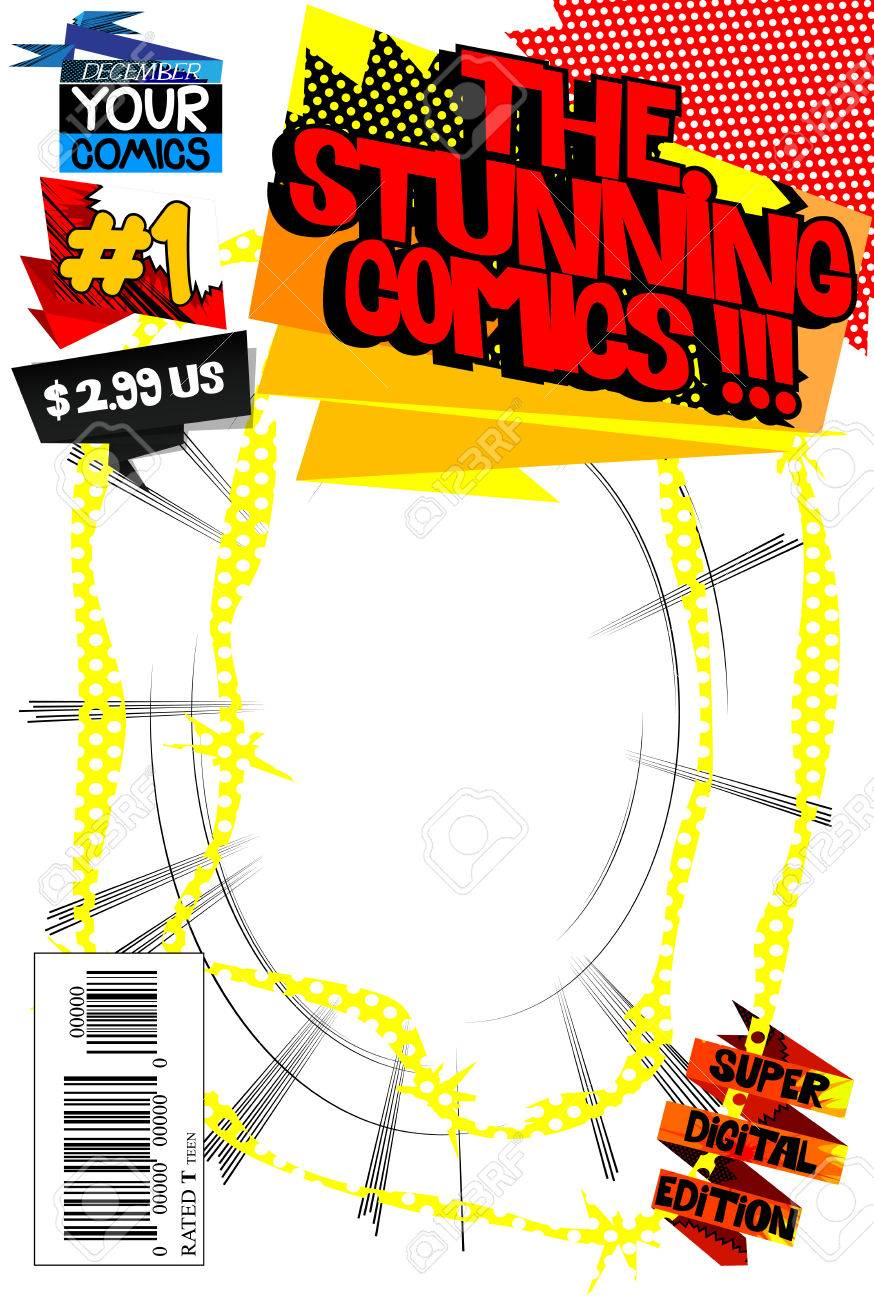 Editable comic book cover template, customizable title, bar code