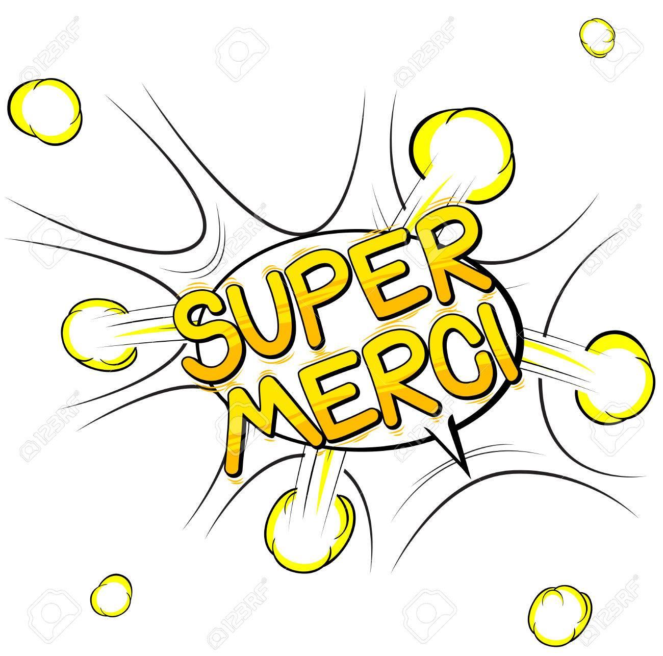Super Merci - Vielen Dank Auf Französisch - Comic Buch Stil Wort ...