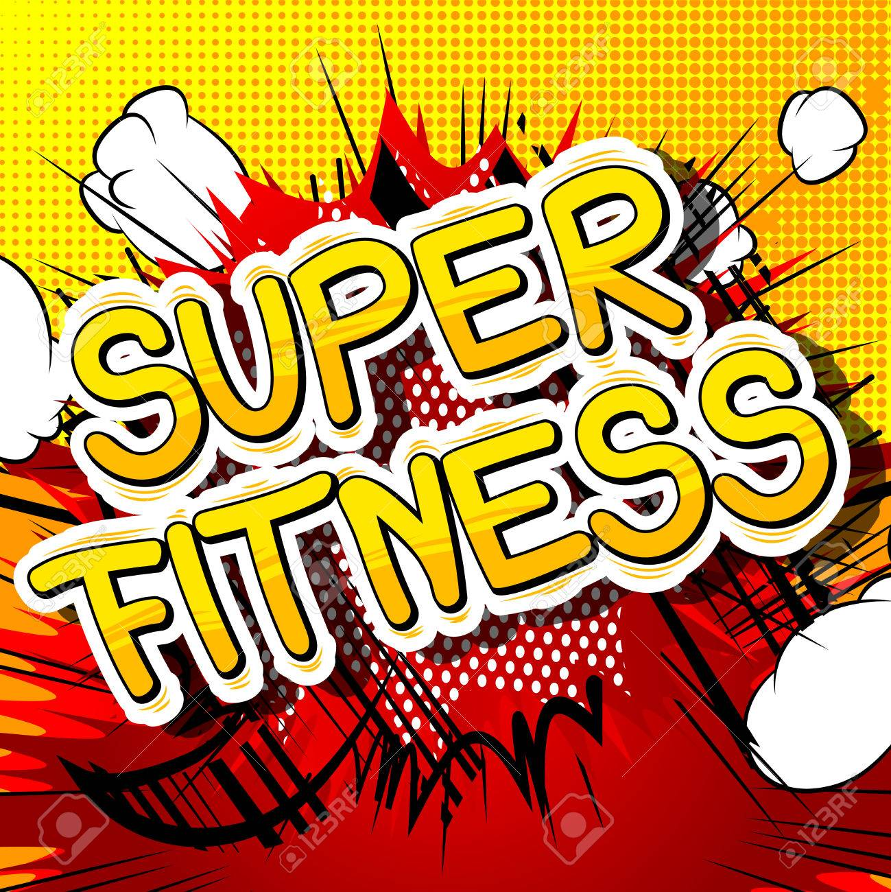 Super Fitness Frase De Estilo Cómic Sobre Fondo Abstracto