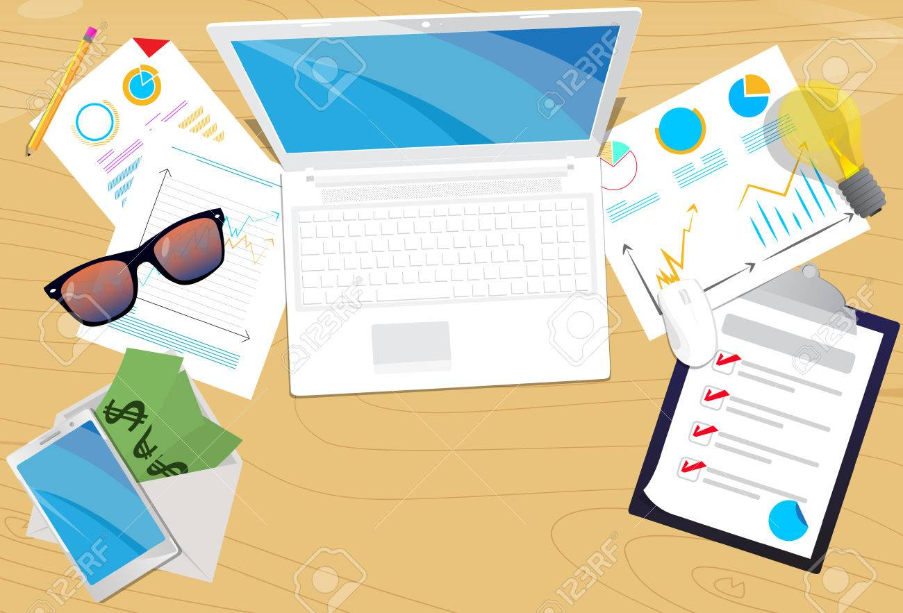 Top View Of Office Desk Vector Illustrated Cartoon Background
