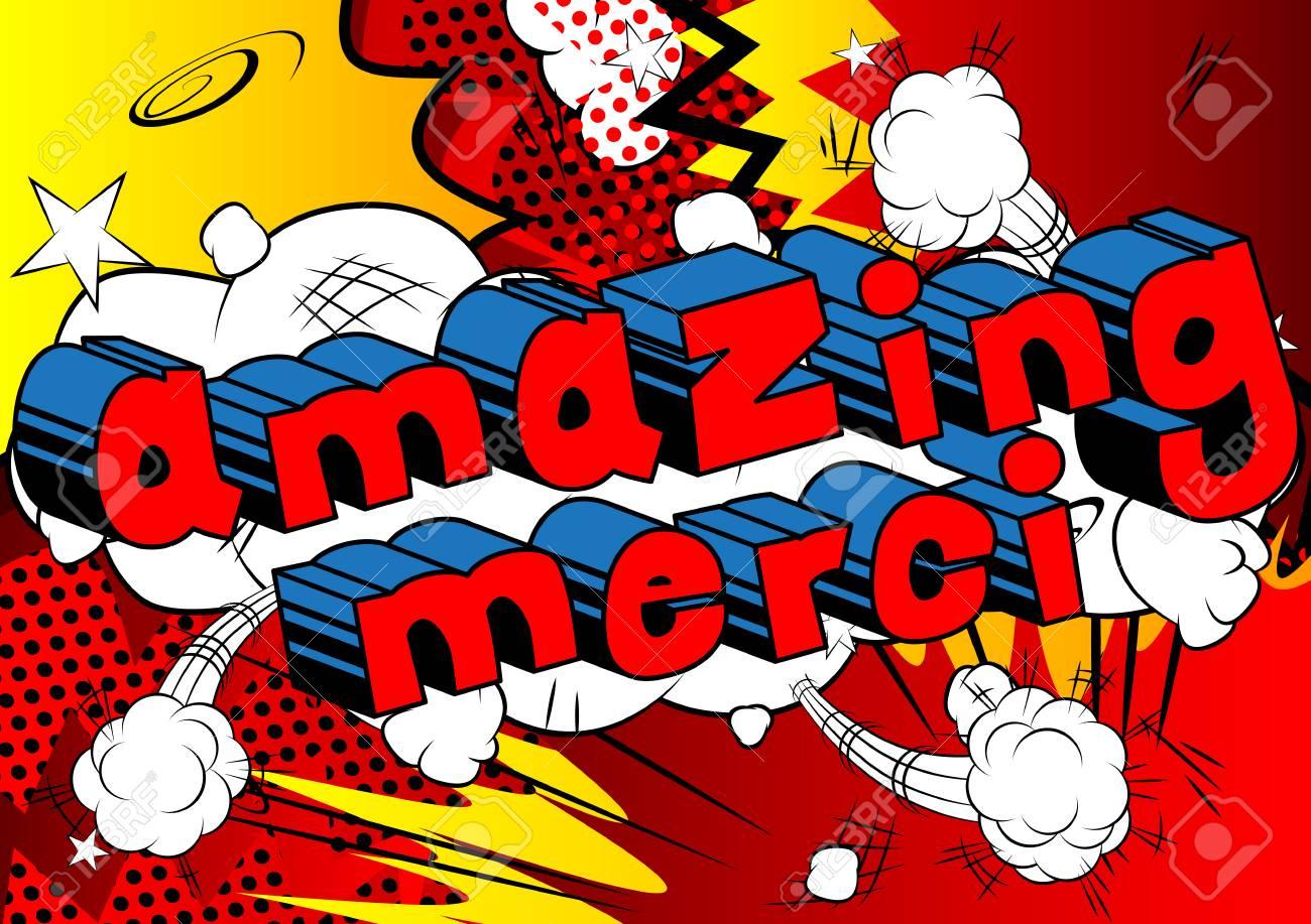 Incroyable Merci Merci Dans Francais Mot De Dessin Anime Francais Sur Fond Abstrait Vecteur Clip Art Libres De Droits Vecteurs Et Illustration Image 86963842