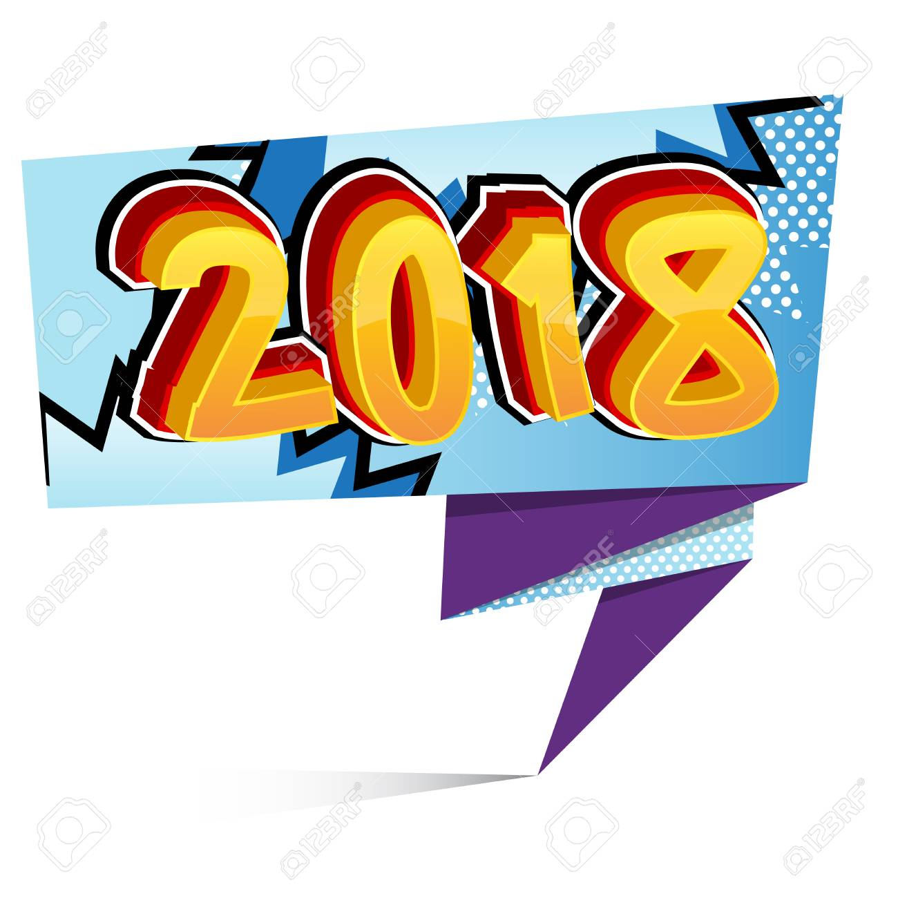 creative happy new year 2018 design card on comic book background rh 123rf com comic book vector png comic book vector border