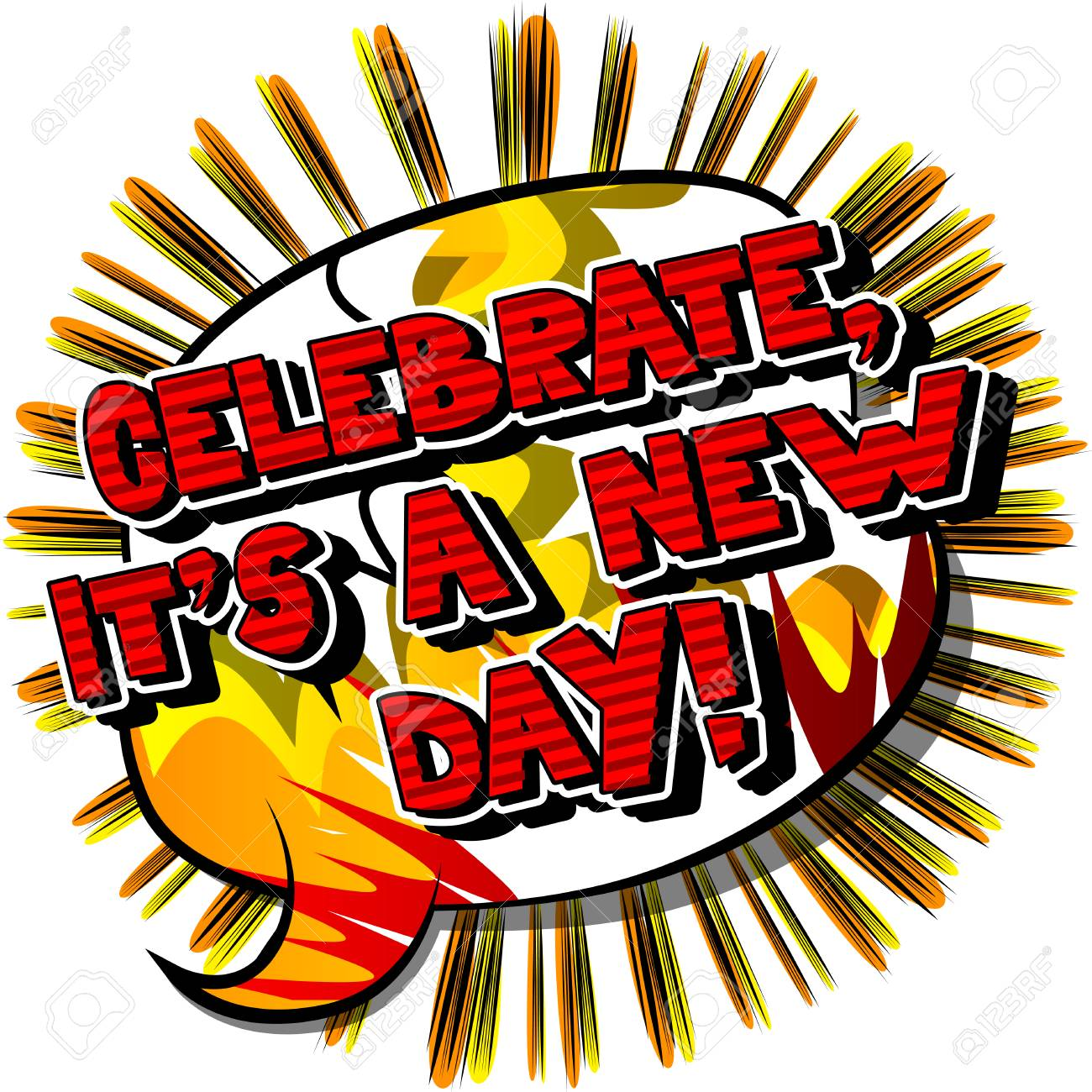 Celebrate Its A New Day Vector Illustrated Comic Book Style