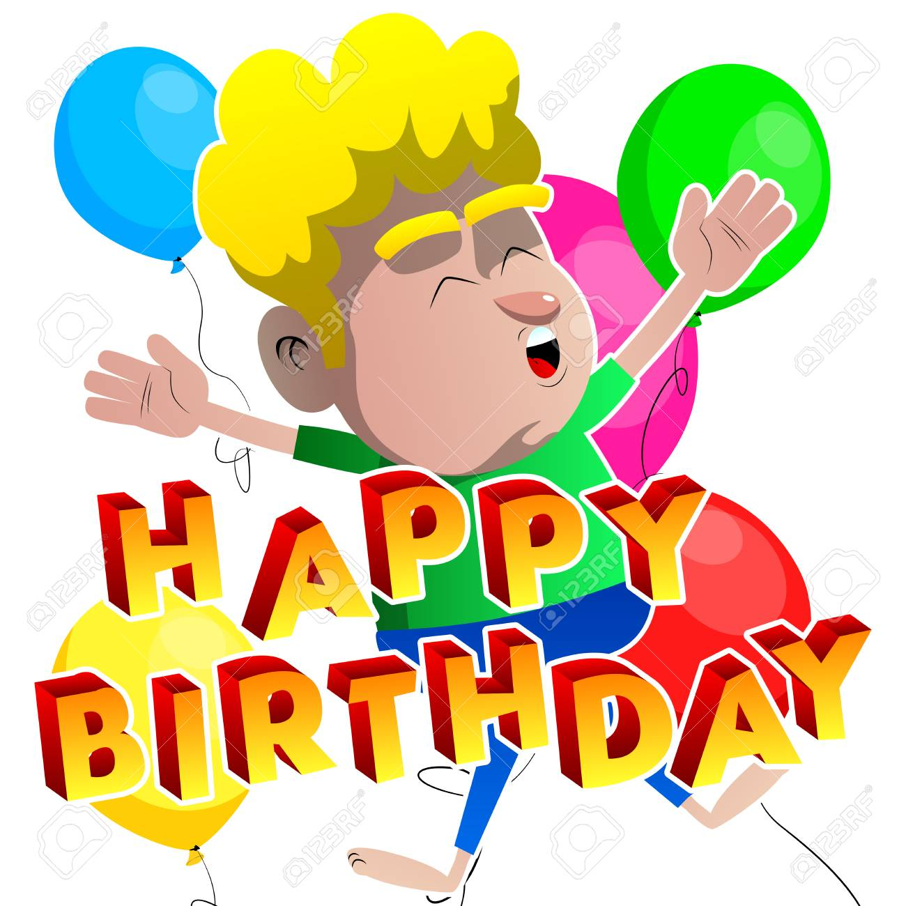 Boy Jumping With Happy Birthday Text In Front Of Him And Balloons On The Background