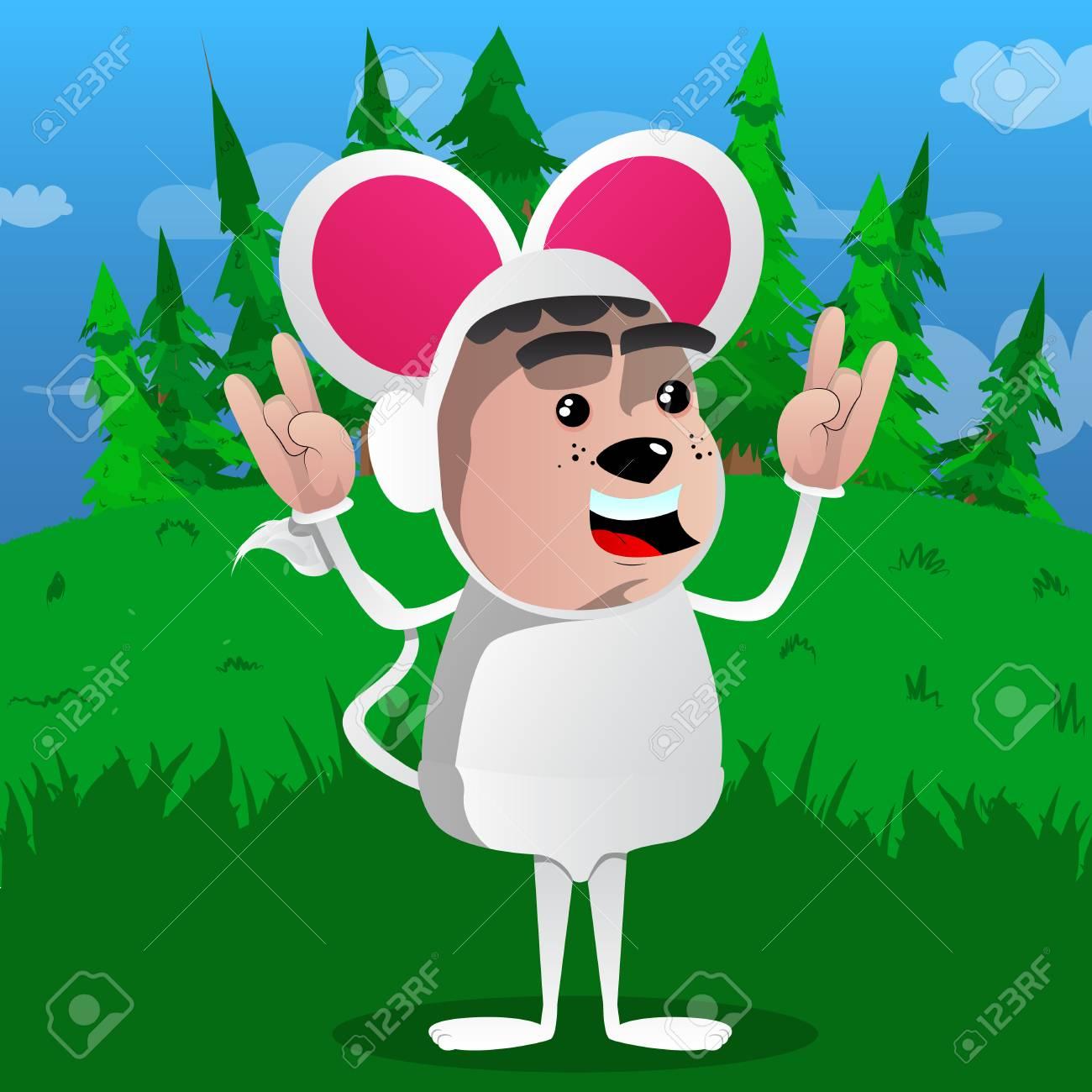 Vettore topi spiritose elefanti e topi animale personaggi dei