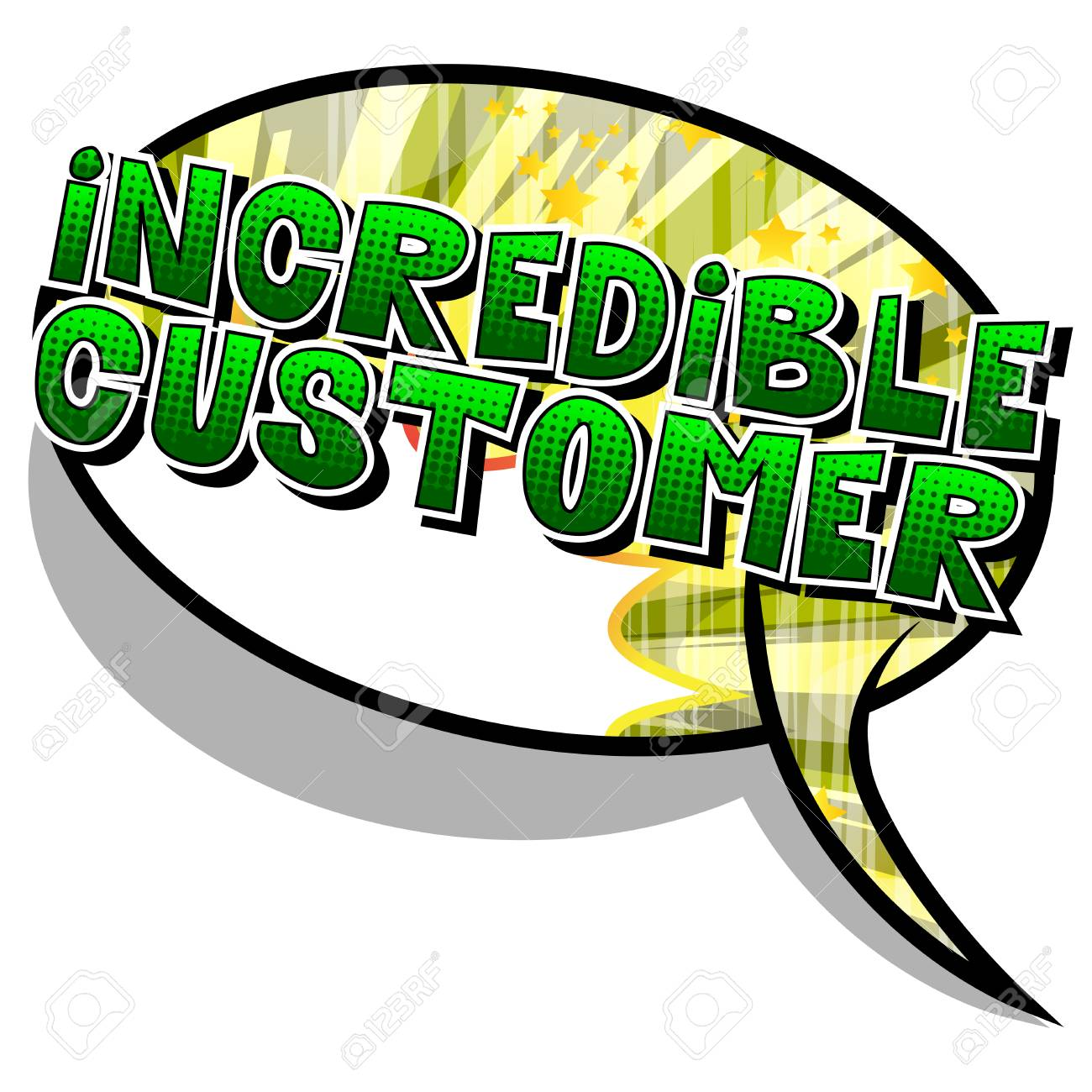 Incredible Customer - Comic book style word on abstract background. - 105596831