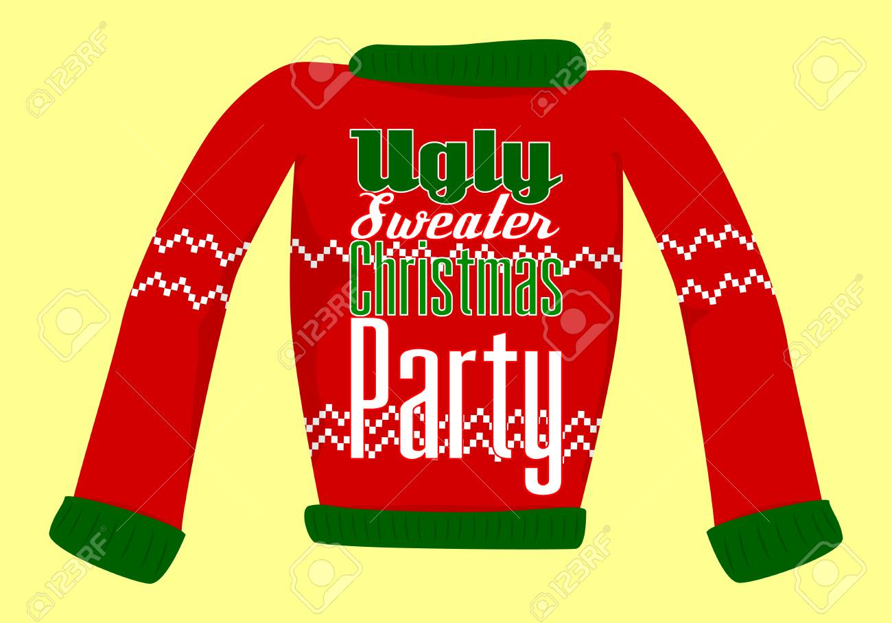 Ugly Christmas Sweater Party Invite.Ugly Christmas Sweater Party Postcard Or Invitation