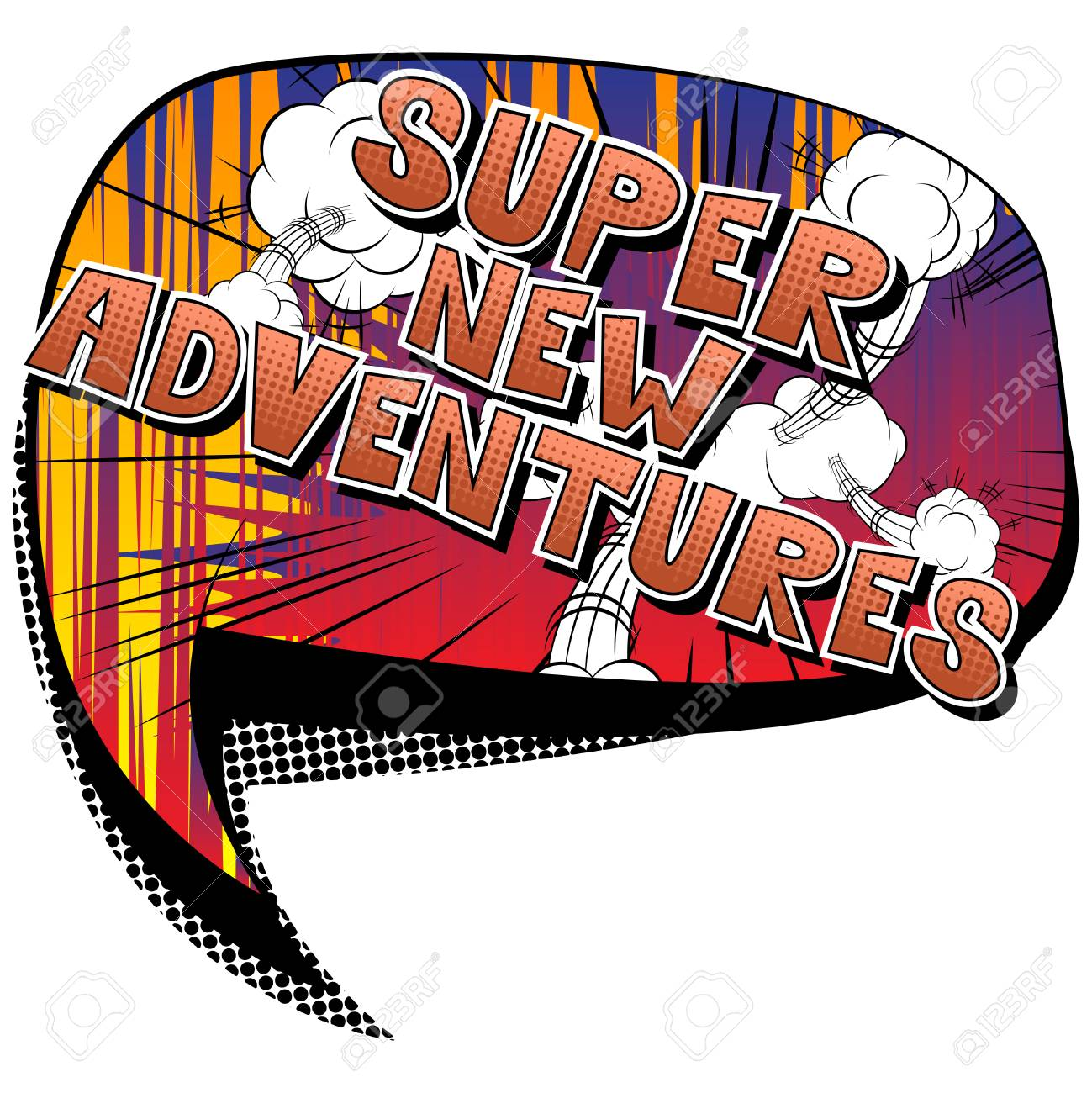 Super New Adventures - Vector illustrated comic book style phrase