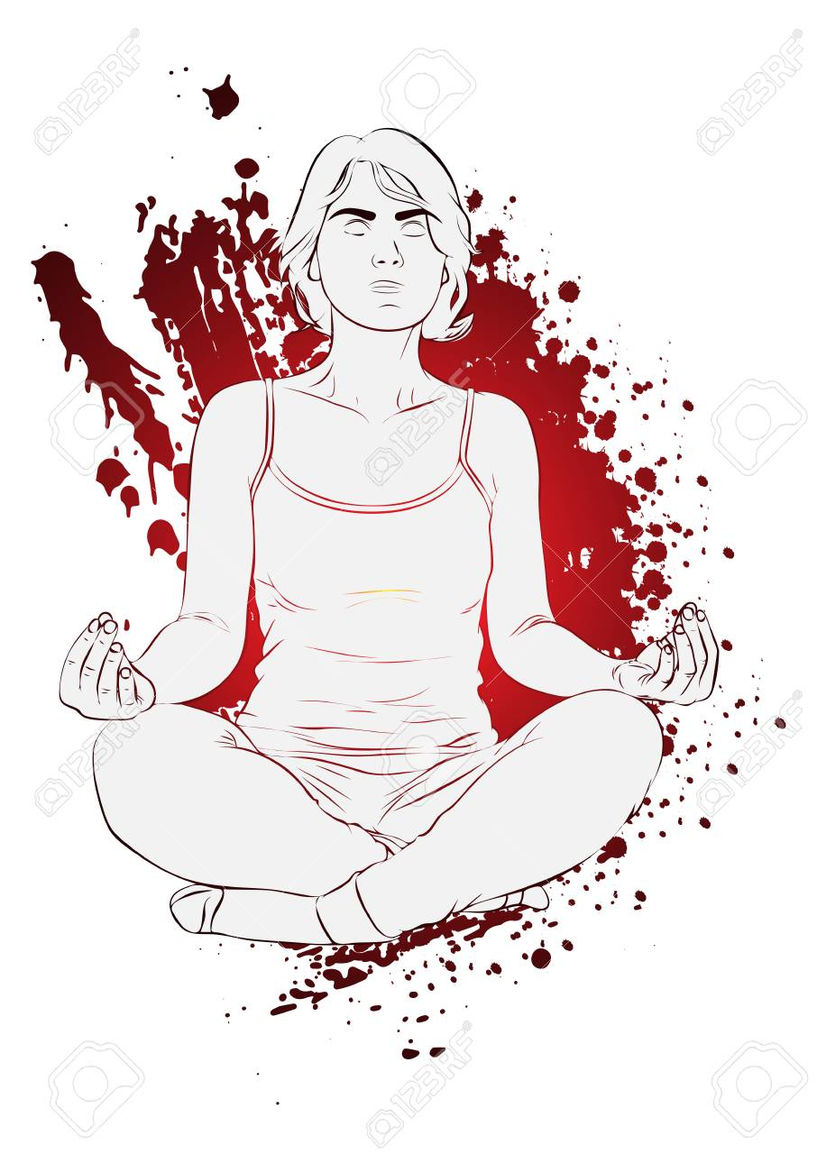 Yoga concept  Vector illustration of a woman doing yoga, meditating
